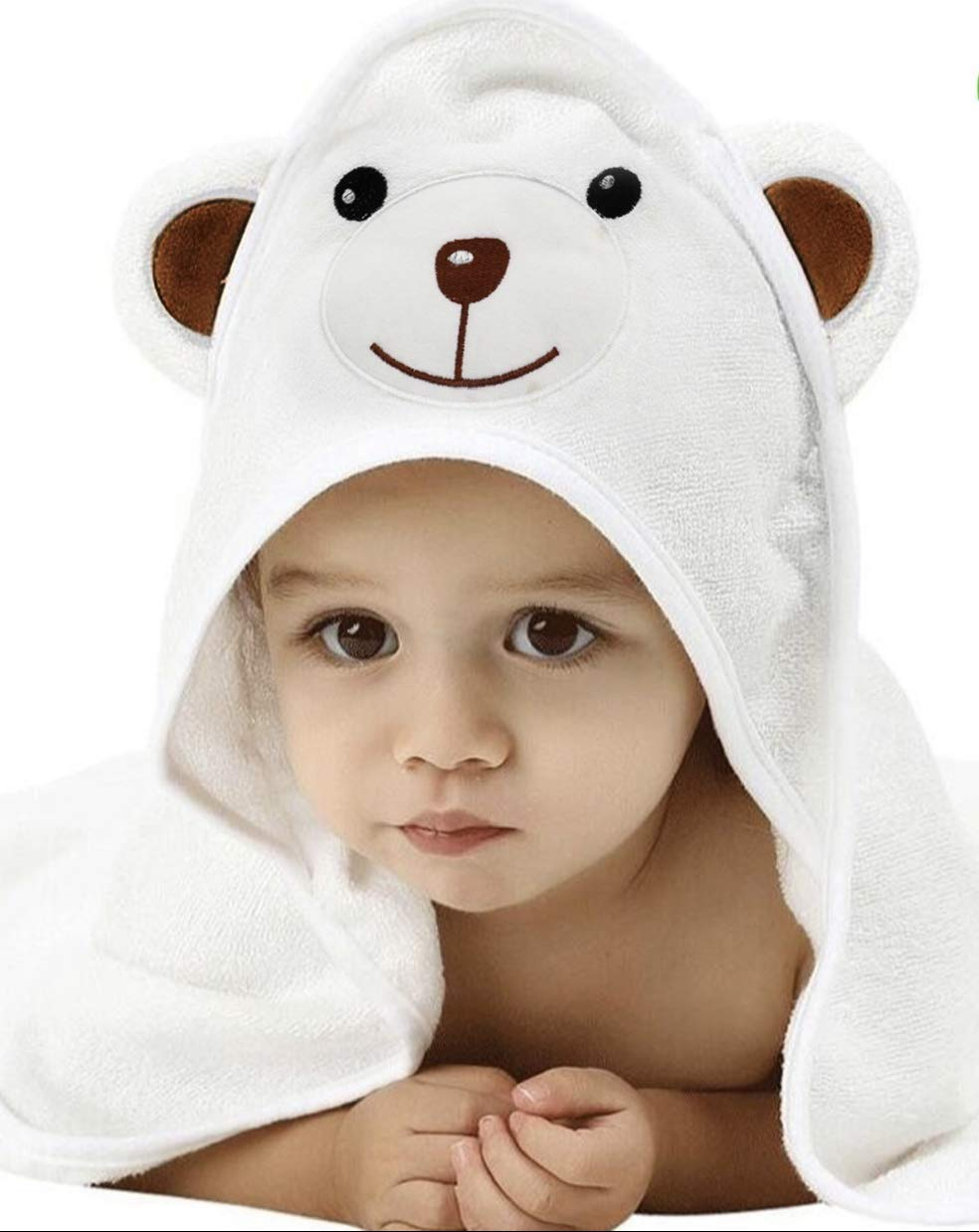 ClairBaby Premium Ultra Soft Organic Bamboo Baby Hooded Towel with Washcloth - Absorbent & Naturally Hypoallergenic - Large Hooded Towel for Baby & Toddlers for Boys & Girls