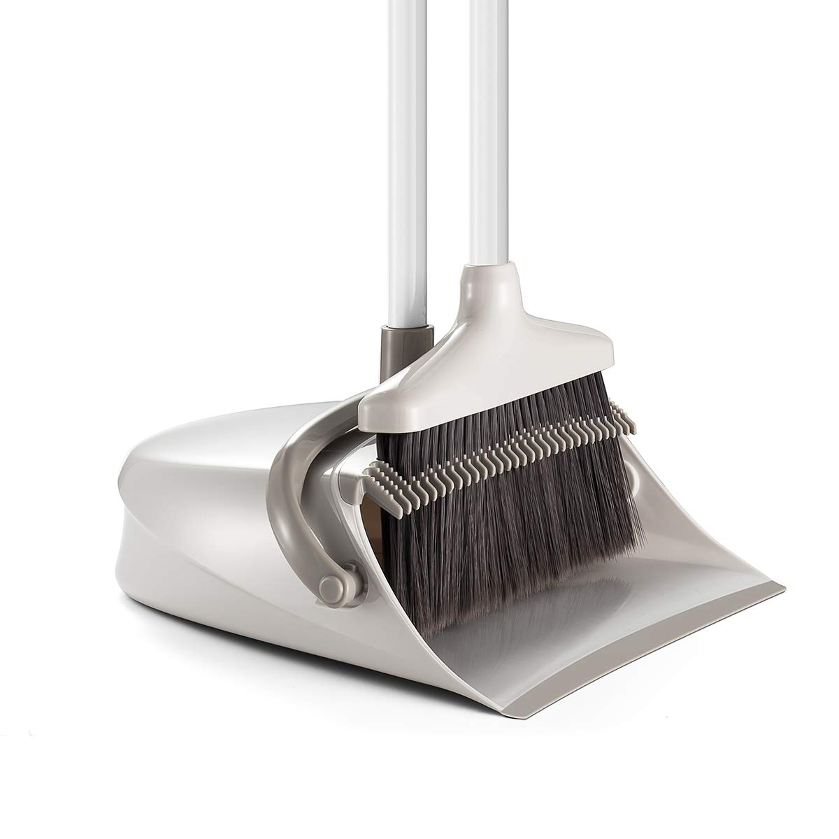 Broom and Dustpan Set, CQT Dust Pan and Broom with Long Handle for Home Kitchen Industry Lobby Floor Sweeping Upright Stand Up Dustpan Cleans Broom Combo by CQT (Image #1)