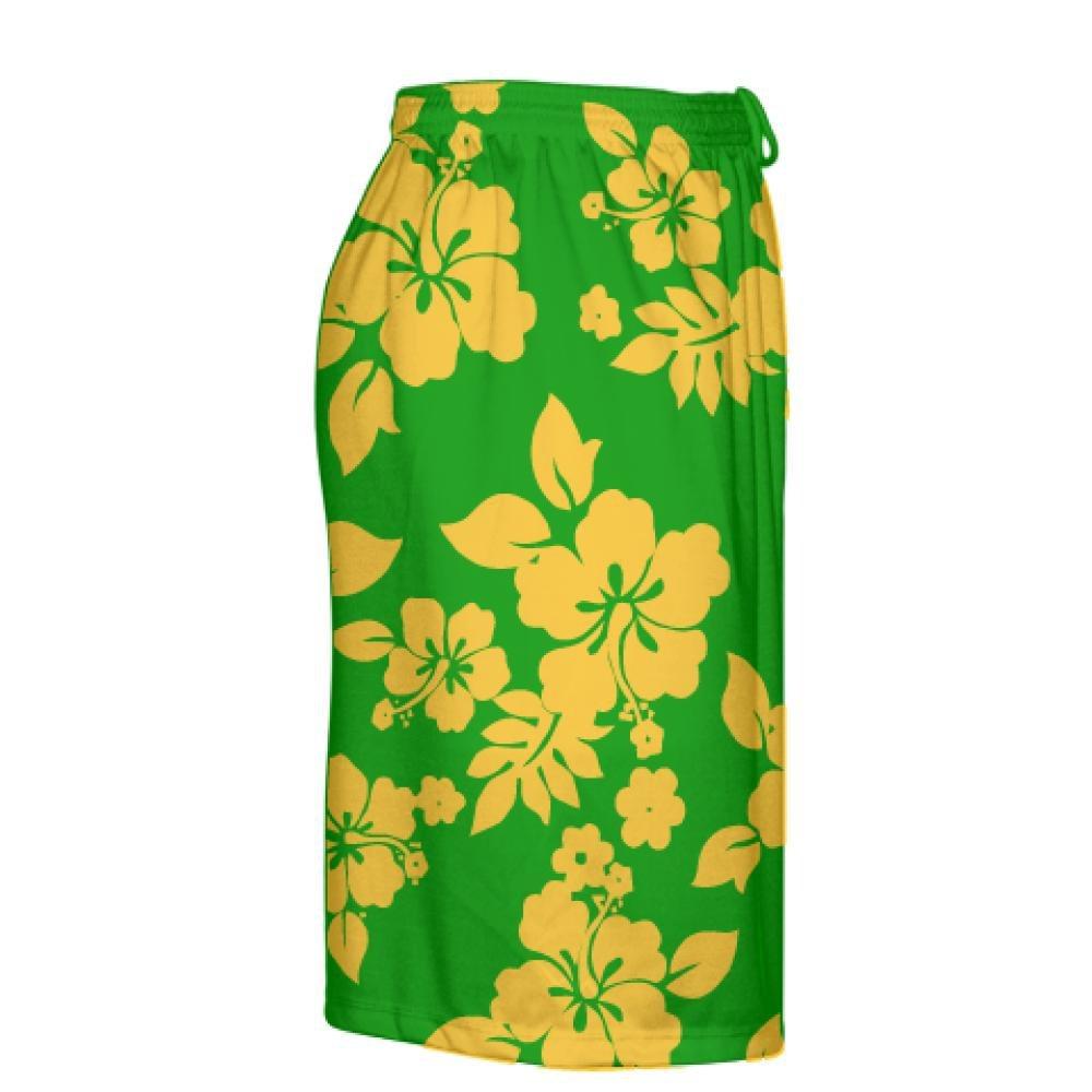 LightningWear Youth Green Athletic Gold Hawaiian Shorts Accent Hawaii Shorts Youth Green