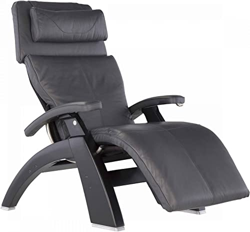 Perfect Chair Human Touch PC-420 Classic Manual Plus Series 2 Black Matte Wood Base Zero-Gravity Recliner – Gray Premium Leather