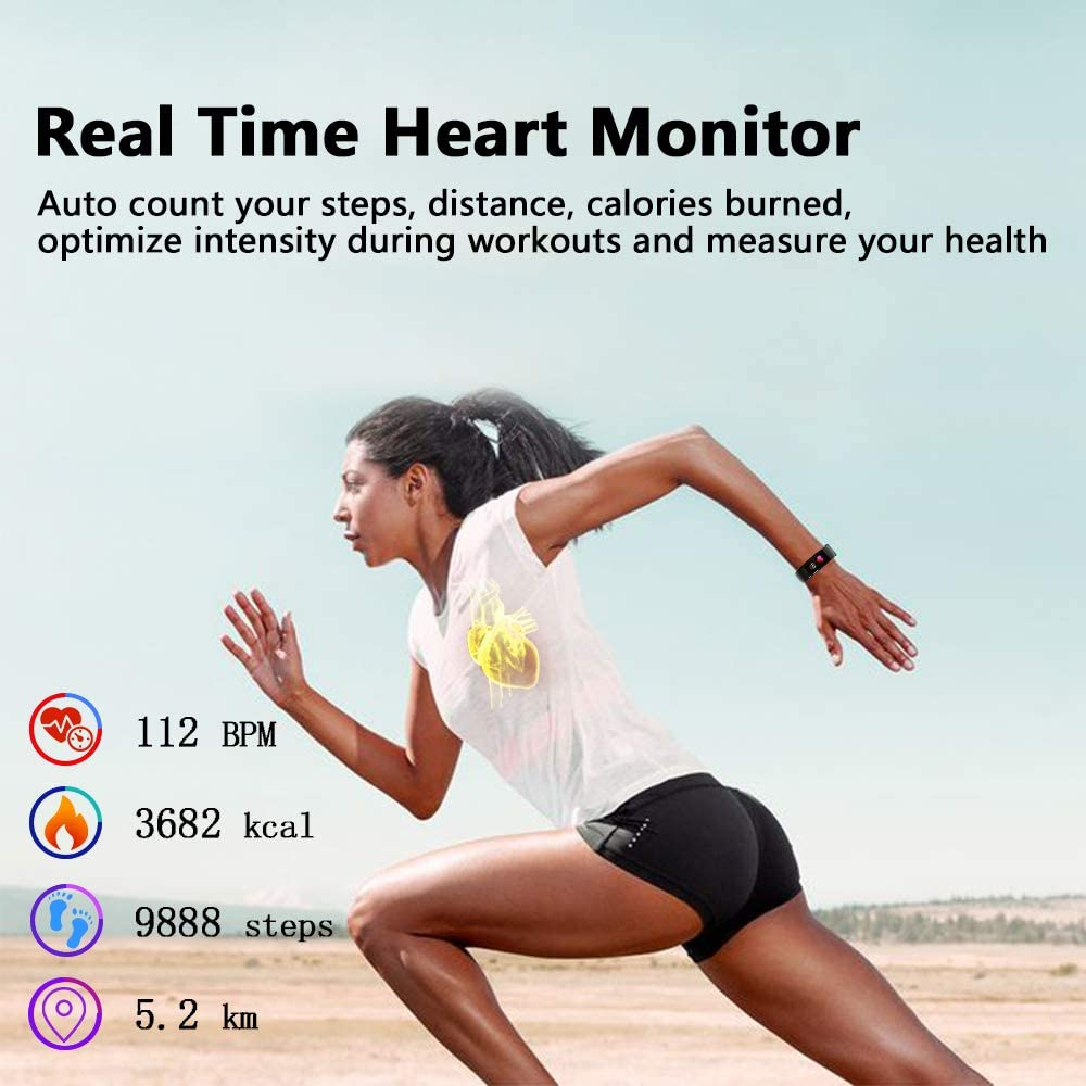 Fitness Tracker Waterproof IP67 Fitness Watch with Heart Rate Monitor,Sleep Tracking, Step Counter Compatible Android iOS Phones Activity Tracker for Workouts for Men Women Kids