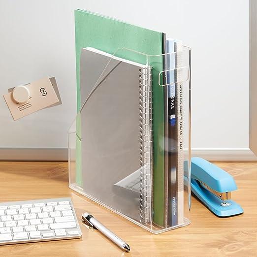 InterDesign Linus Revistero vertical para publicaciones, actas y cuadernos, archivador de papeles con asa para escritorio en plástico, ...