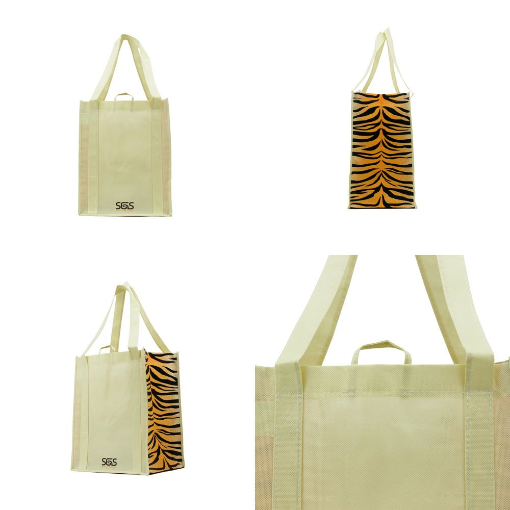 Animal - Graphic Pattern Prints - Reusable Reinforced Tote Bags - Set of 4 by Simply Green Solutions (Image #5)