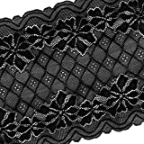 MagiDeal 5 Yards 24cm Stretch Lace Ribbon Floral Trim Sewing Lace Fabric Applique Clothing Accessories Crafts for Bridal Wedding Veils Dress DIY - black