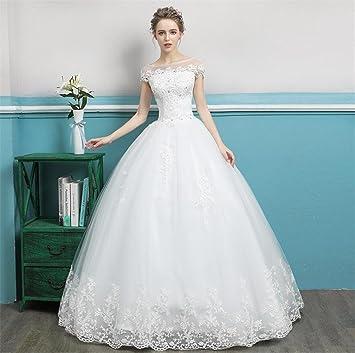 LUCKY-U Vestido De Novia, Vestido De Novia Elegante Diseño Único Princesa Fance Largo