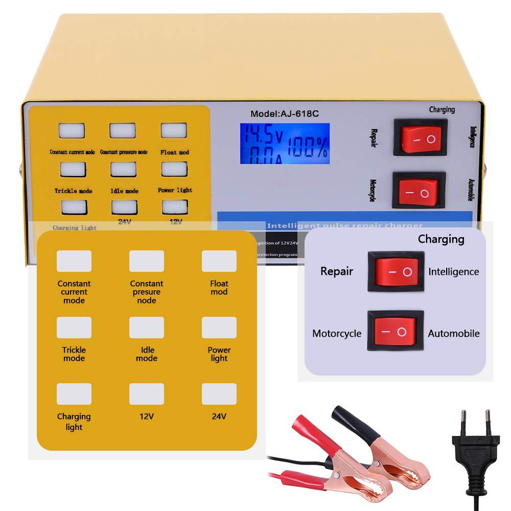 GreenRibbon 12/V//24/V Caricabatterie Intelligente Automatico Pulse Riparazione mainteneur 10/A per Auto Moto Batteria al Piombo Acido AC220/V