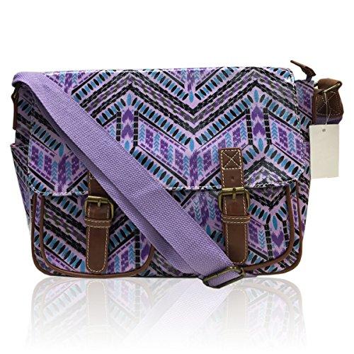 Animal AZTEC Messenger Body Fox Bag Print BLACK Cross Stripe STRIPE Satchel Azetc PURPLE Ladies Oilcloth Bag 7FqHwH5