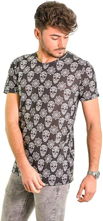 DIVARO - Camiseta Estampado Calaveras Color Negro - para ...