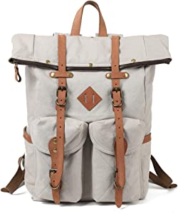 Kemy's Mens Canvas Backpack Leather Rucksack for Men Travel Backpacks Vintage Bookbag with Laptop Compartment Rustic Large Unisex Gifts Beige