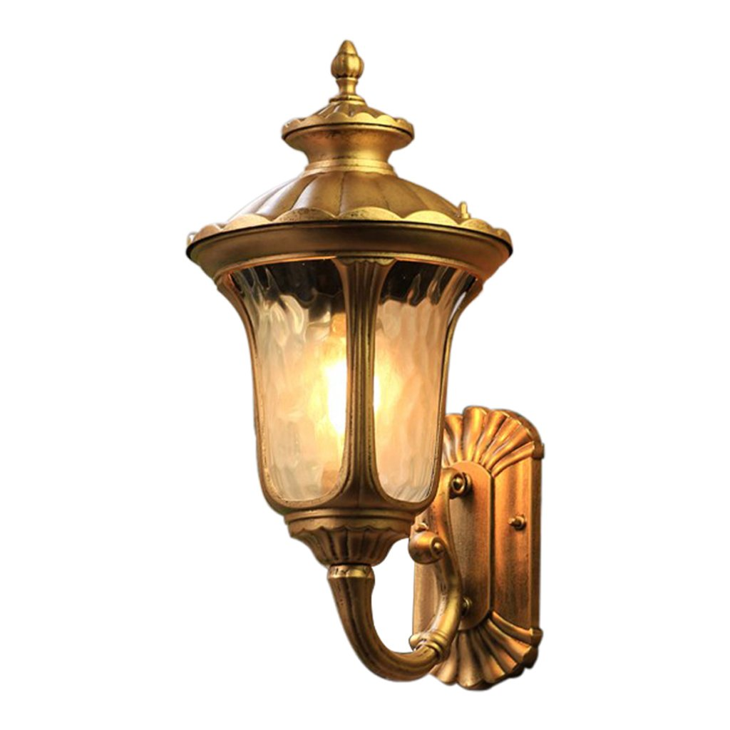 Meiya lamp Außenwandleuchte, Klassische Goldene Schwarze Wasserdichte Design-Terrasse-Patio-Korridor-Quadrat-Technik-Wand-Licht-einzelner Kopf E27 (Farbe   Gold, Größe   49  28CM)