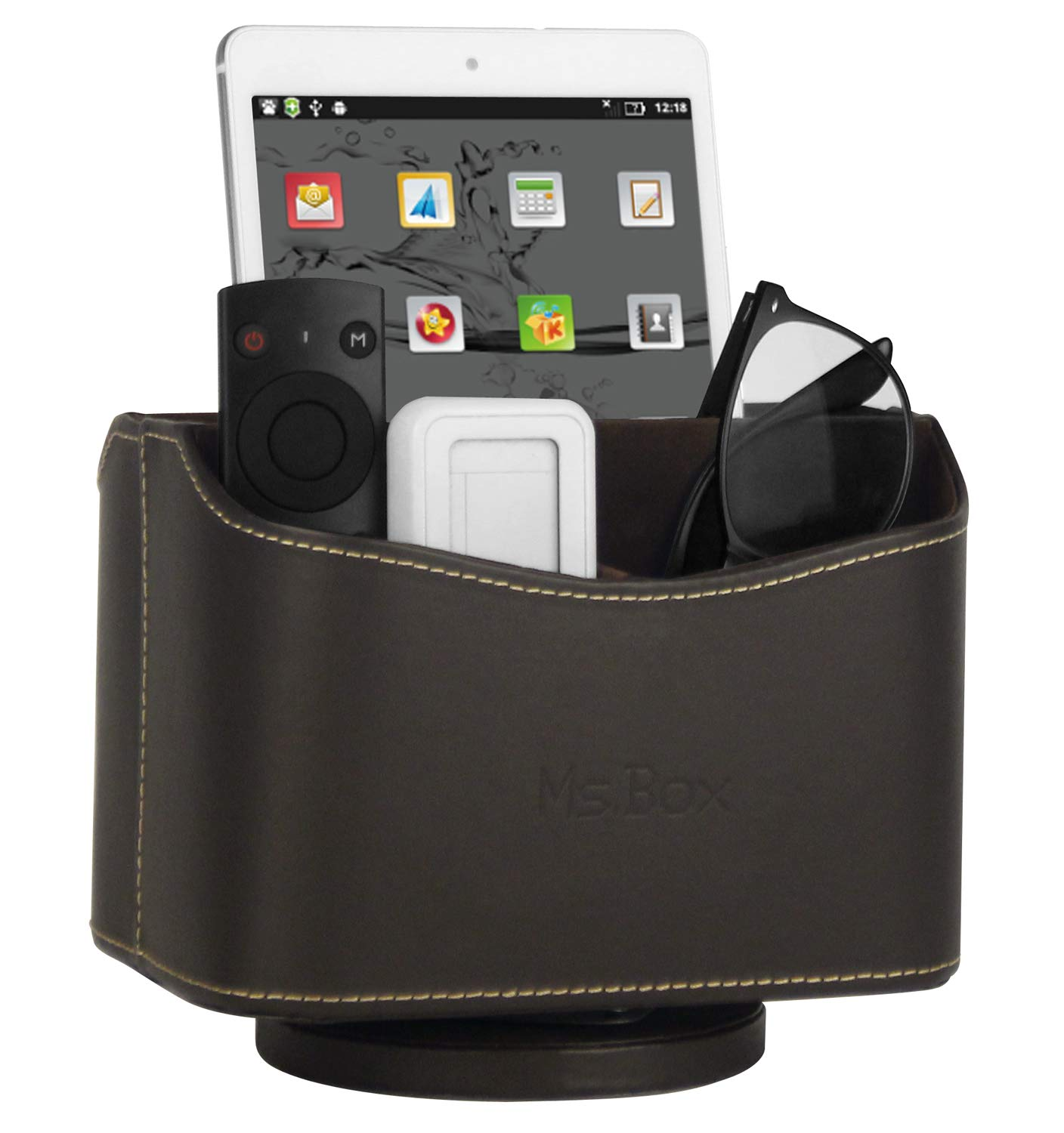 Ms.Box Spinning Remote Caddy, Media Storage Organizer, Remote Control Holder Organizer, Remote Caddy, Brown PU Leather, 7.3X 5.5 x 6 inches