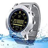 Kingkok Bluetooth Outdoor Smart Sports Watch with Steps Counter Calories Stopwatch Phone Reminder Waterproof Digital Smartwatch [Silvery]