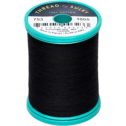 Algodón + acero 50 wt. Hilo de algodón por Sulky negro 660 YD ...