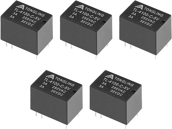 bleu communications r/éseau etc SENRISE Lot de 5 mini relais dalimentation CC 5 V 15 A 250 VAC 5 broches pour appareils m/énagers /équipements /électroniques