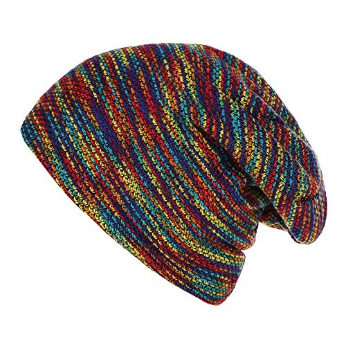 LtrottedJ Fashion Women Mens Warm Striped Knitted Outdoors Casual Hat Ruffle Wrap Cap (Multicolor) for $<!--$5.98-->