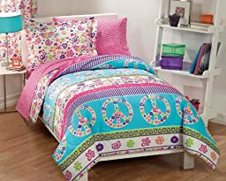 Dream Factory Peace And Love Peace Signs Girls Comforter Set, Multi-Colored, Full