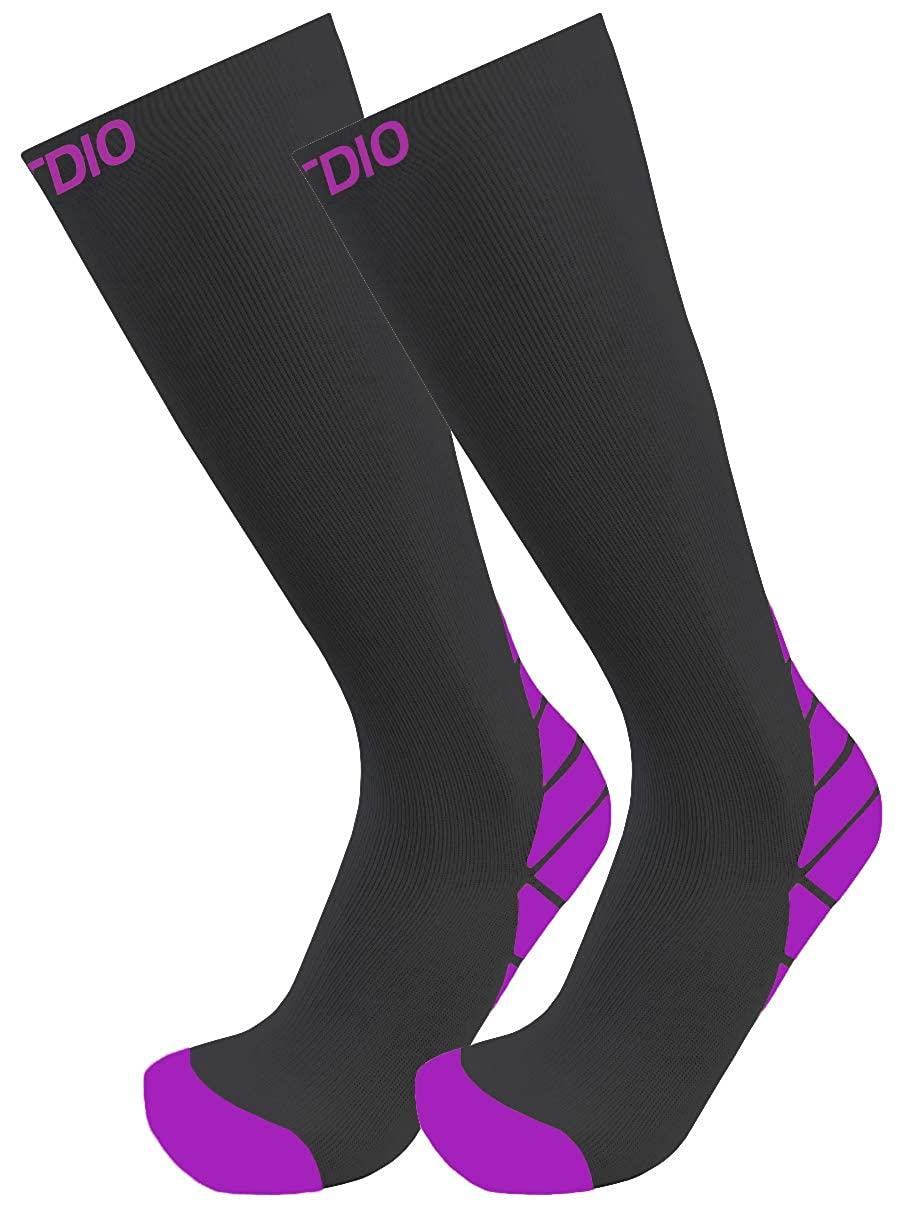 FITDIO Strength Collection 6-Pair Knee High Assorted Color 15-20mmHG Compression Socks For Men /& Women