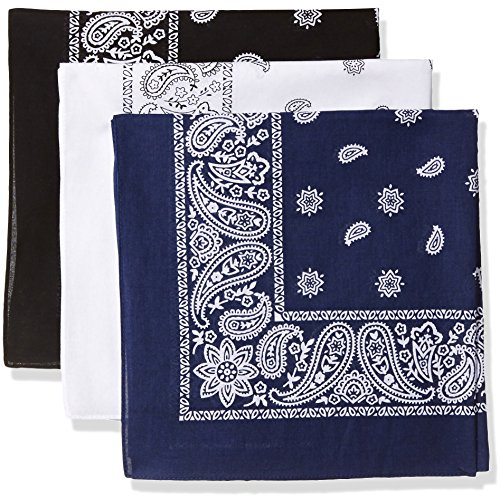 (Levi's Men's 100% Cotton Bandana Headband Gift Sets, black/white/navy, One Size)