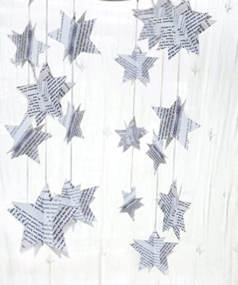Sunbeauty Newspaper Star Garland Christmas Bunting Paper Star For Vintage Christmas Decorations Retro Xmas Party Supplies Windows Ceiling Hanging