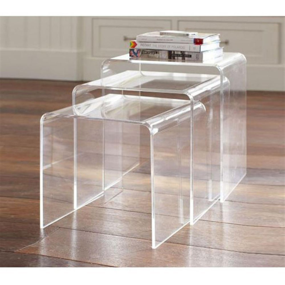 Design Acrylic Side Table amazon com homcom 3pc acrylic stackable nesting end side tables clear kitchen dining