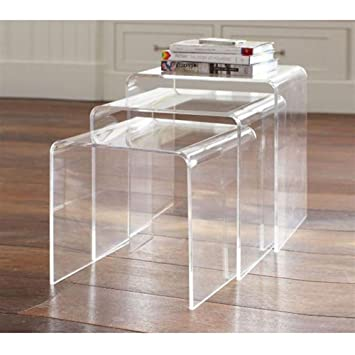 homcom 3pc acrylic stackable nesting end side tables clear - Kitchen Side Tables