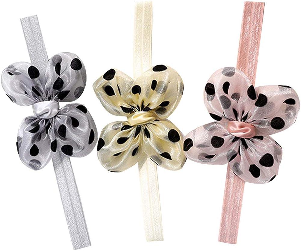 3Pcs Pearl Flower Baby Headband Soft Elastic Girls Hair Band Turban Princess