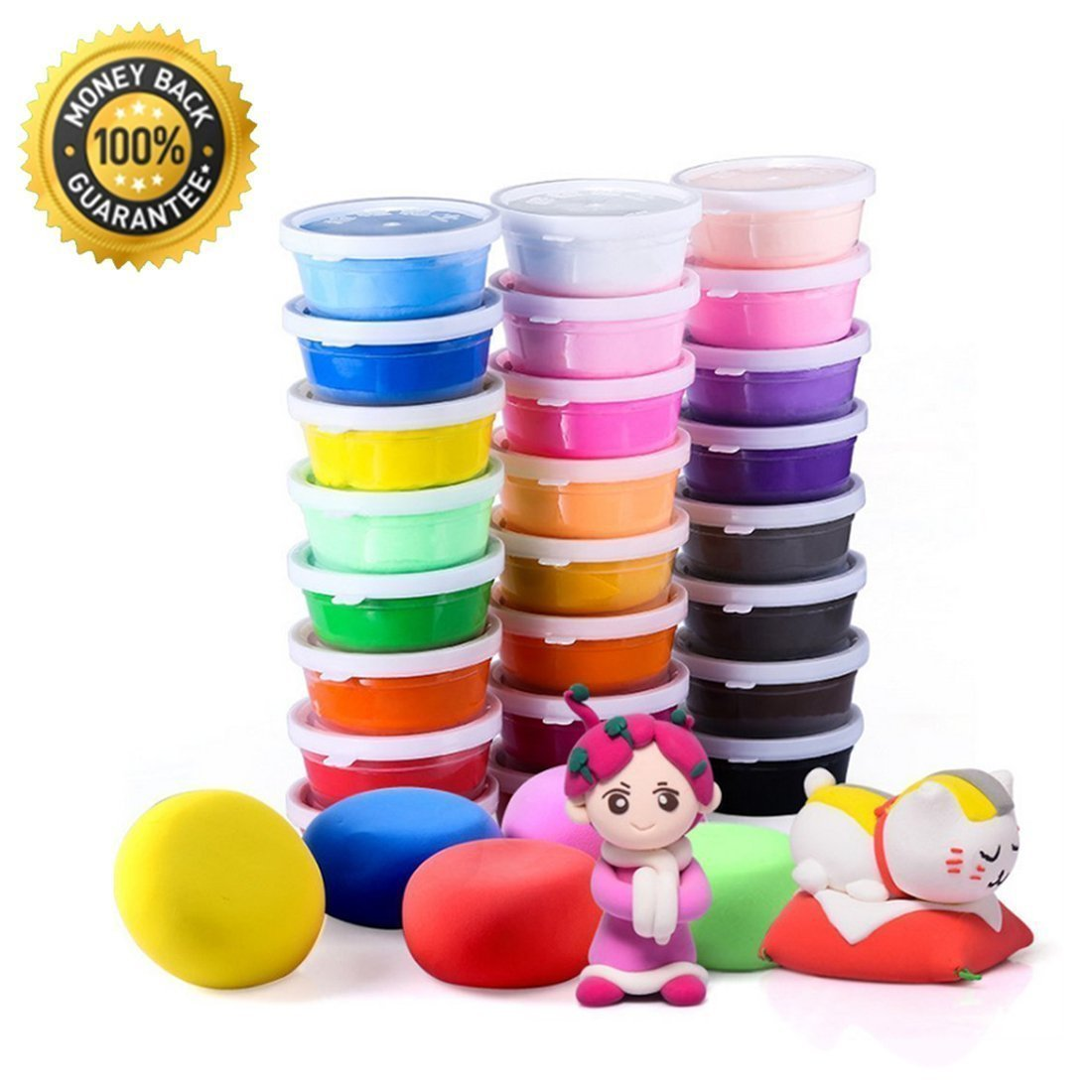 Air Dry Clay, 24 Colors Ultra Light Modeling Clay, Rubikliss Magic Clay DIY Creative Modeling Dough with Project Booklet