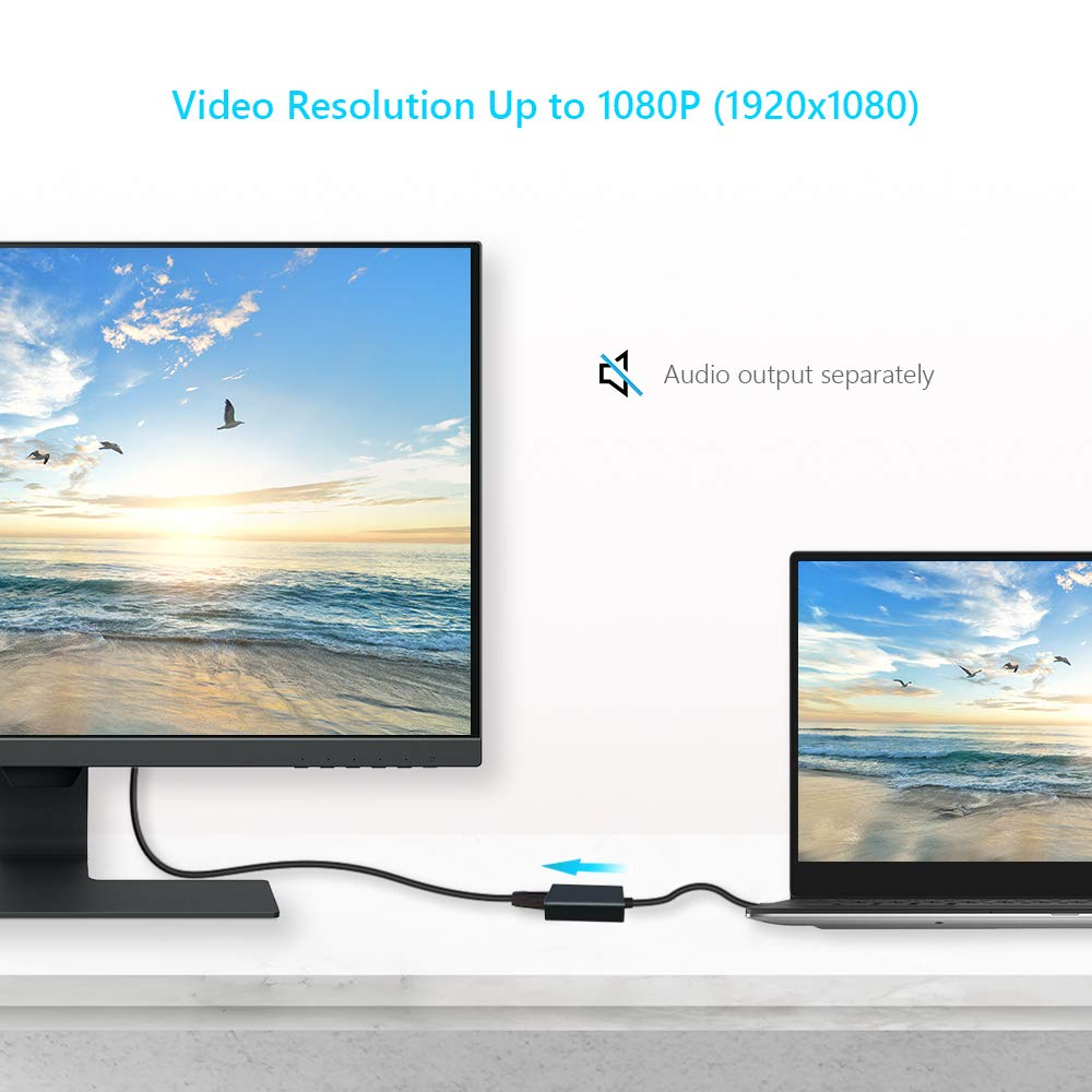 8 Laptop PC USB to HDMI Adapter 7 USB 3.0 // 2.0 Converter to HDMI 1080P External Display Multi-Monitor Video Cable Adapter for Windows 10