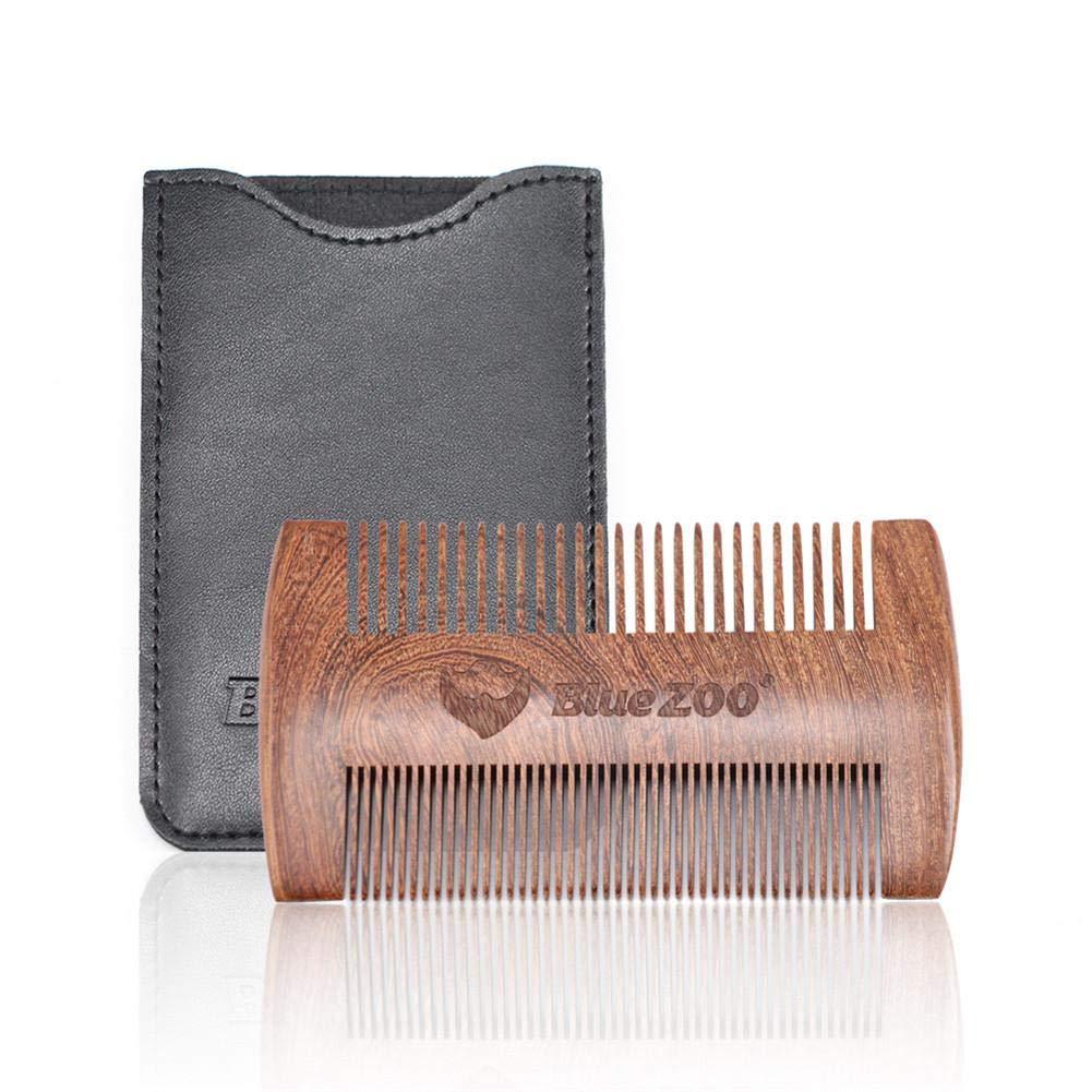 Alian Wooden Beard Peine Estuche de Cuero Negro Bolsillo ...