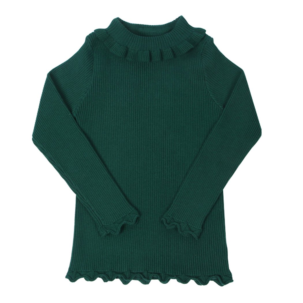 Wennikids Girls Spring Autumn Turtleneck Sweaters with Ruffle Neck LC-OURS-8062