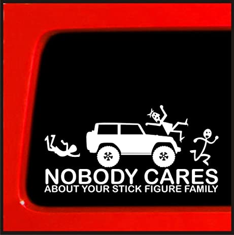 Stick figure sticker for jeep family nobody cares funny truck white decal bumper vinyl decal sticker