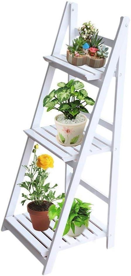 tatayang Estantería Plantas Estantería plegable para flores con 3 estantes, estante escalera de madera para pantalla Flores Marcos adornos, 3 Tier Flower Stand Estantería multifuncional 45 * 41 * 107 cm blanco: Amazon.es: Jardín