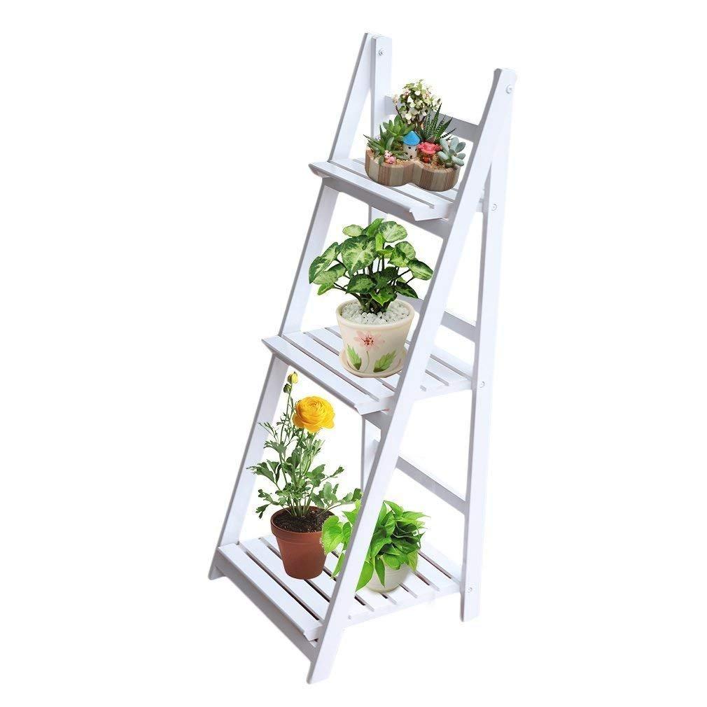 Homgrace Vintage Folding Plant Flower Stand Stair Freestanding Wooden Flower Plant Pot Display Shelf Holder Rack Ladder for Outdoor Garden Balcony Indoor Living Room Florist Shop HJ03UK