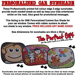 A Personalised Horse CAR Car Sunshade x 1 – New Animal Custom Collapsible Kid Baby Child Visor Window Your Name UV…