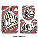 3 Piece Bath Rug Set Nalahome design-145112746 Retro cinema poster. Vector movie a Bathroom Rug(15.7''x23.62'')/large Contour Mat(15.7''x15.7'')/Lid Cover(15.7''x16.9'')For Bathroom(yellow )