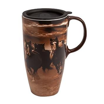running horses latte travel mug - Coffee Travel Mugs