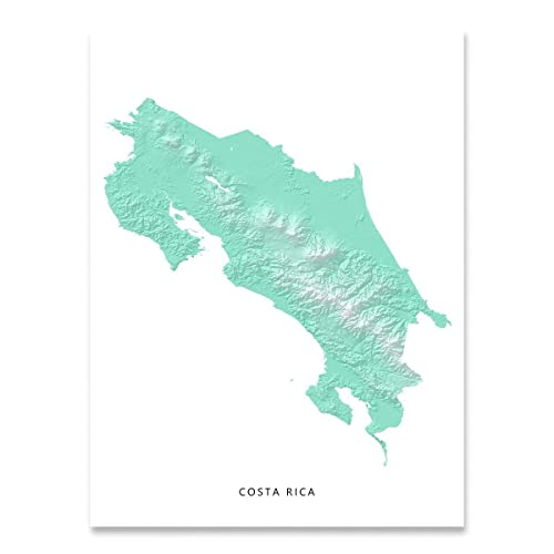 Amazon.com: Costa Rica Map Print, Aqua Landscape Art, Wall ... on bogota map, caracas venezuela map, havana map, costa rica street map, costa rica and surrounding countries map, costa rica temperature map, panama city map, lima peru map, costa rica vacation map, la paz map, montevideo uruguay map, tegucigalpa honduras map, northern lowlands map, puerto rico map, downtown san jose area map, location of costa rica on a map, tierra del fuego map, costa rica hotel map, costa rica airports map, san jose california map,