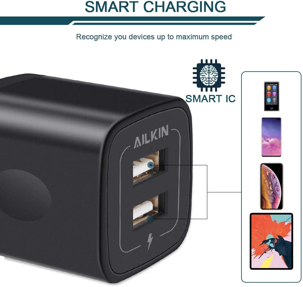 Fast Android Charger Replacement for iPad//iPhone//iPod//Samsung//More Rapid Charger Adapter Wall Plug Station Wall Charger Brick Ailkin USB MultiPort Charging Block Home Travel Charger Cube