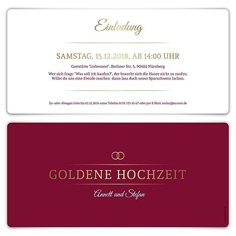 20 X Goldene Hochzeit Einladungskarten Goldhochzeit