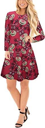 Salimdy Women's Ugly Christmas Santa Print Pullover Long Sleeve Flared A Line Xmas Gifts Party Dress S-5XL