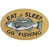 Eat Sleep Go fishing 食う 眠る 釣る 刺繍 アイロン ワッペン アウトドアアクセサリー 釣り用 プレゼント