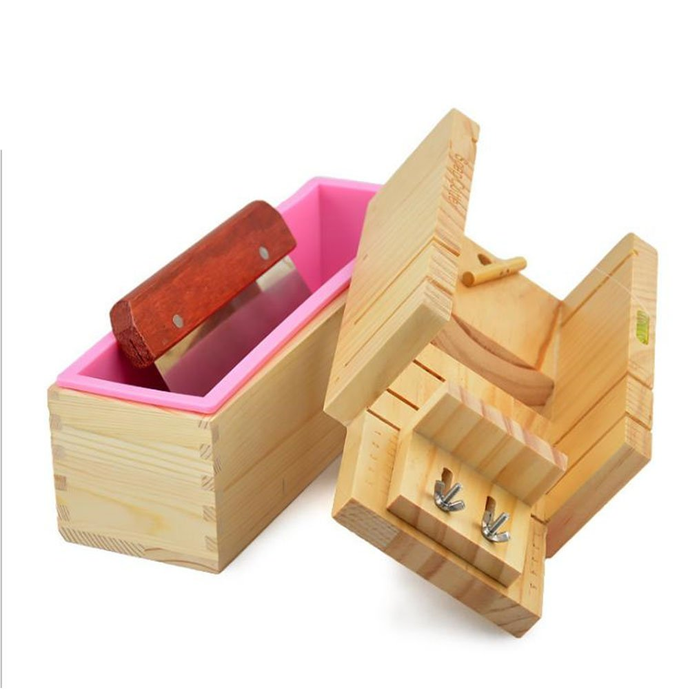 Lanlan Soap Mold Set Wooden Box Toast Loaf Cake Maker Cutting Molds Slicer Cutter 1 set DLXJSJHLW-18011102
