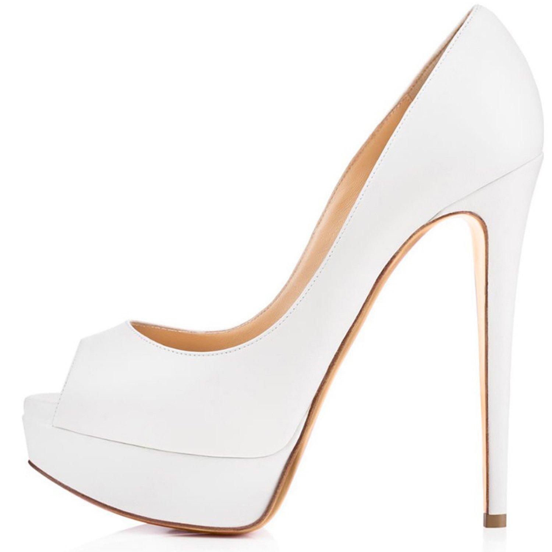 elashe Zapatos Para Mujer - Tacón de Aguja -15CM Peep Toe - 3CM Plataforma Tacones Mujer Fiestas Oficina 43 EU|Blanco
