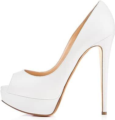 ELASHE - Zapatos para Mujer - Tacón de Aguja -15CM Peep Toe - 3CM Plataforma Tacones Mujer Fiestas Oficina