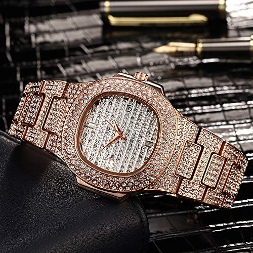 Antybaby Hip Hop Men's Bling Bing Watch Iced Out Diamond Watch with Bracelet Silver Gold Plated Metal Band Straps Rapper Wrist Watches for Men