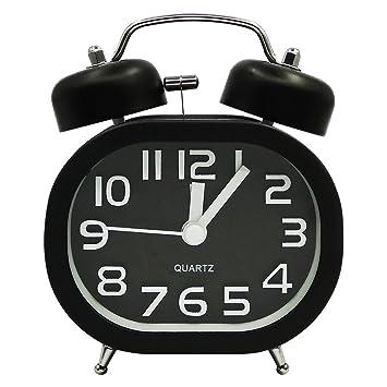 COOJA Reloj Despertador Vintage Retro Alarm Clock, 3 Pulgadas Despertador Doble Campana Despertador Silencioso Sin Tic TAC, Despertadores Analogicos ...