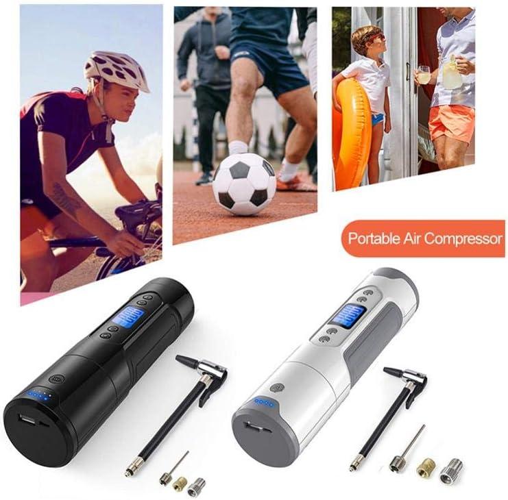 Bomba de Aire para Coche bater/ía de Iones de Litio Recargable Moto Pelotas con Pantalla LCD minibomba para Bicicleta compresor de Aire port/átil Recargable