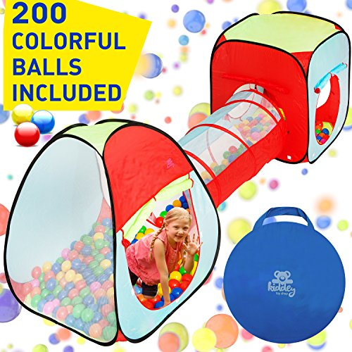 Kiddey 3pc. Kids Ball Pit With 200 Balls, See Through Play Tent Tunnel Set- Crush Proof Balls - Great Gift for Boys & Girls, Toddlers & Babies - Indoor/Outdoor, Carrying Case for Balls and Ball Pit