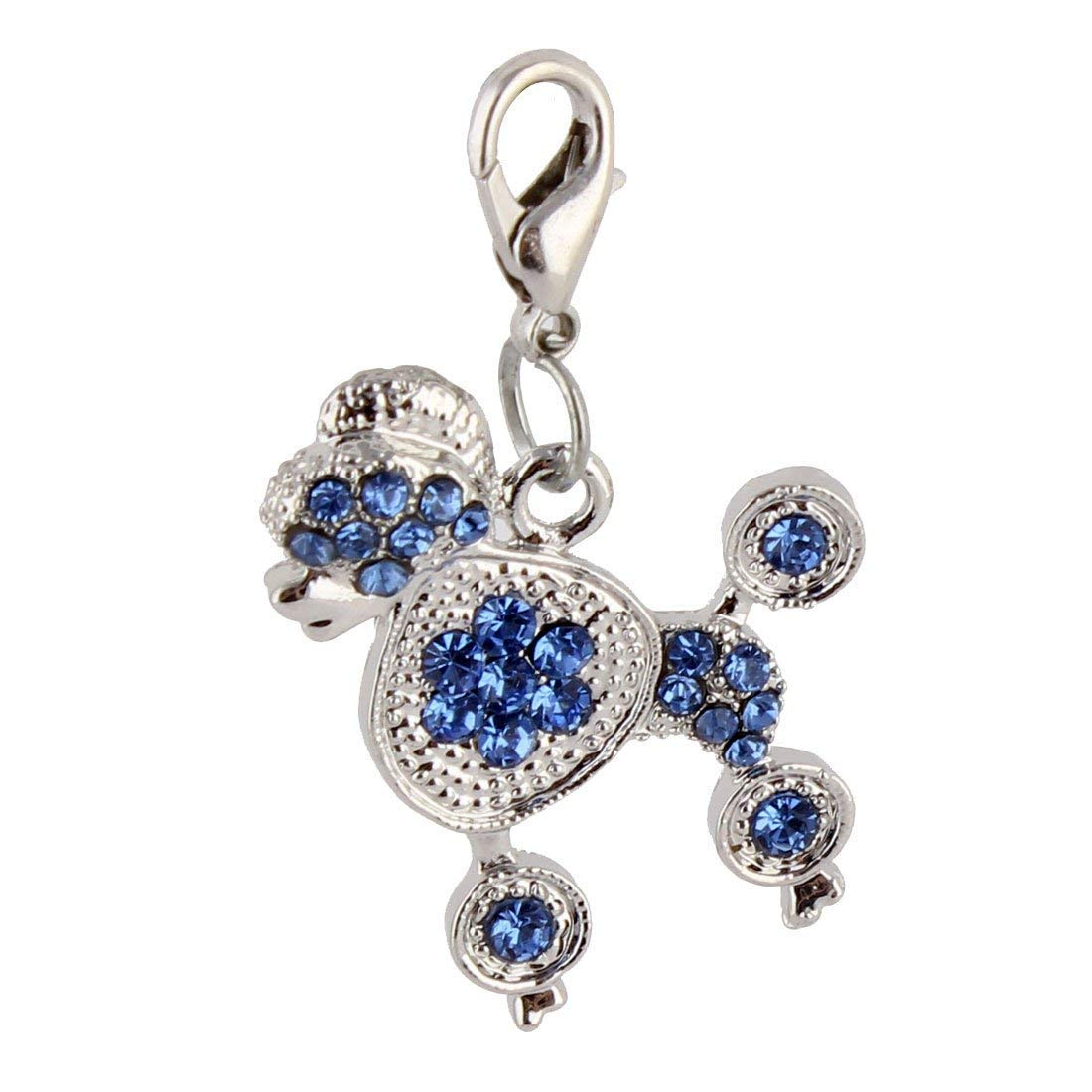 1Pc Metal Dog Shaped Rhinestone Inlaid Pet Puppy Pendant Silver Tone bluee