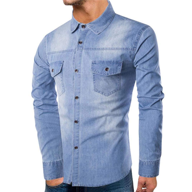 OCASHI Men's Shirts Clearance Sale -Fashion Men Long-Sleeve Beefy Button Top Basic Solid Denim Blouse Tee Shirt (M, Sky Blue)